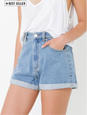 A High Relaxed Short in Blue Denim
