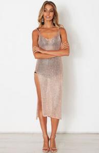 Chime Mesh Dress Rose Gold