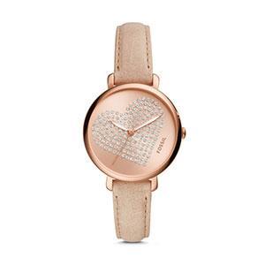 Jacqueline Three-Hand Pastel Pink Leather Watch