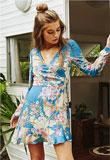 Blue Skies Wrap Mini Dress Blue