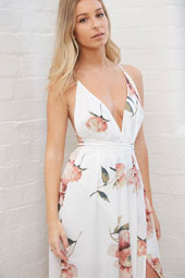 Unleashed Maxi Dress In White With Blush Floral