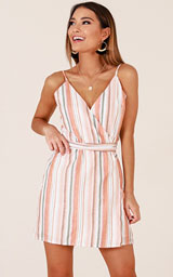 Delphine Dress In Orange Stripe
