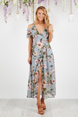 Chasing Kate Sophia Maxi Dress In Grey Floral