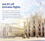 Get 8% off Emirates flights