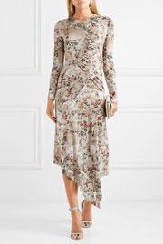 Preen by Thornton Bregazz Nita ruffled floral-print stretch-crepe midi dress