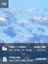 Flight + 3 Nights to Fiji for AU$1180 per Person